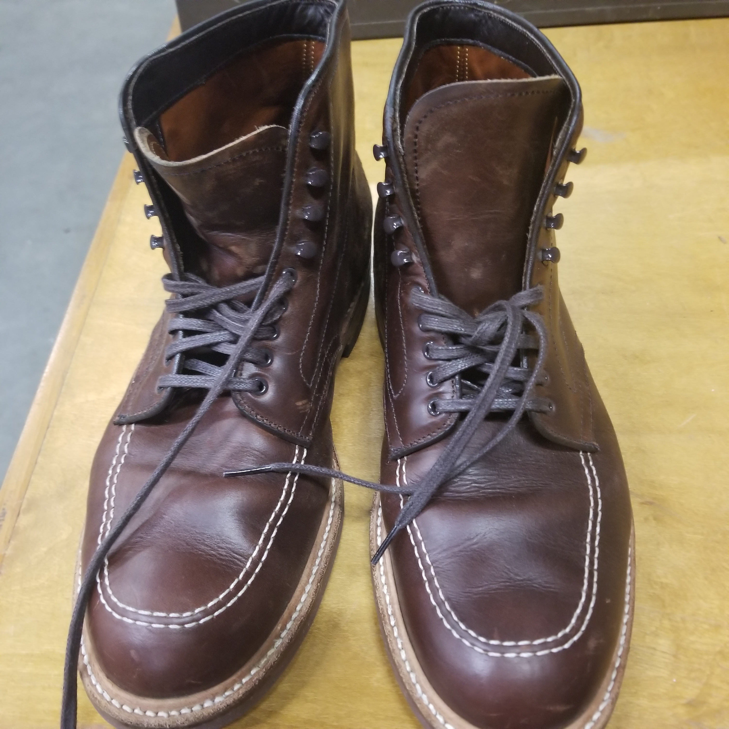 How to Care for Alden Shoes - 403 Indy Boots - Before