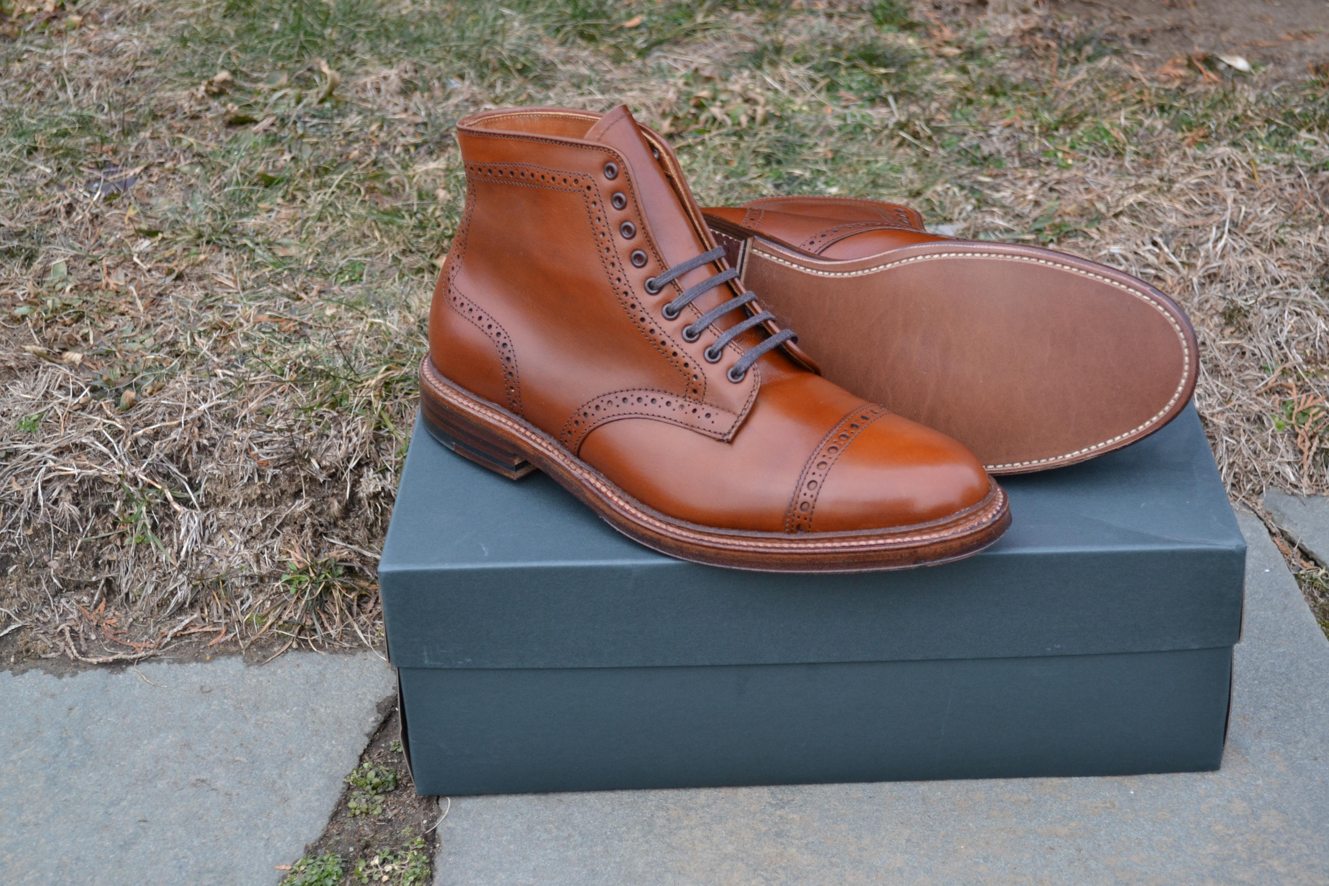 Alden Dark Tan Perforated Cap Toe Boot 39701