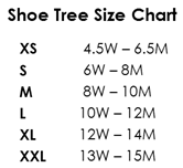 Alden Shoe Tree Size Chart